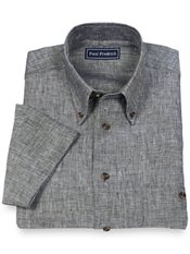100% Linen Button Down Collar Short Sleeve Sport Shirt