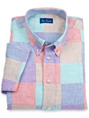 100% Linen Patchwork Button Down Collar Sport Shirt