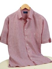100% Linen Stripe Straight Collar Short Sleeve Sport Shirt