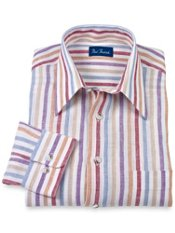 100% Linen Stripe Straight Collar Sport Shirt