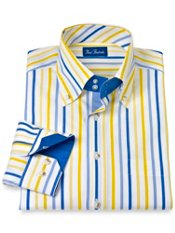 Cotton Stripe Button Down Collar Trim Fit Sport Shirt