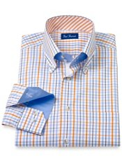 Cotton Check Button Down Collar Trim Fit Sport Shirt