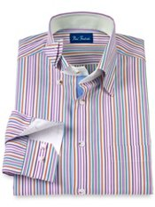 Cotton Stripe Hidden Button Down Collar Trim Fit Sport Shirt