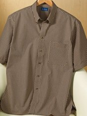 Gingham Button Down Collar Short Sleeve Trim Fit Sport Shirt