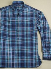 Cotton Plaid Band Collar Sport Shirt