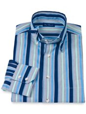 Cotton Stripe Hidden Button Down Collar Sport Shirt