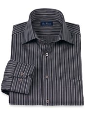 Cotton Stripe Spread Collar Trim Fit Sport Shirt