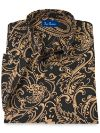 Cotton Paisley Button Down Collar Short Sleeve Sport Shirt
