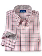 Cotton Gingham Button Down Collar Trim Fit Sport Shirt