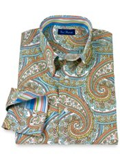 Cotton Paisley Button Down Collar Trim Fit Sport Shirt