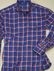 Cotton Plaid Hidden Button Down Collar Sport Shirt