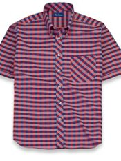 Cotton Check Button Down Collar Short Sleeve Trim Fit Sport Shirt