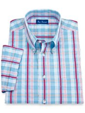 Cotton Seersucker Plaid Button Down Collar Short Sleeve Sport Shirt