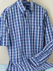 Cotton Seersucker Plaid Button Down Collar Pullover Sport Shirt