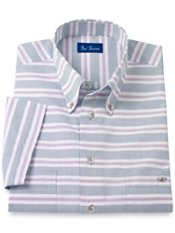 Cotton Horizontal Stripe Button Down Collar Short Sleeve Sport Shirt