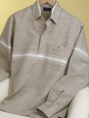 Linen & Cotton Stripe Straight Collar Pullover Sport Shirt
