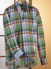 Cotton Madras Button Down Collar Sport Shirt