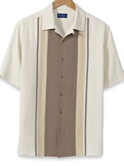 100% Silk Front-Panel Short Sleeve Camp Shirt