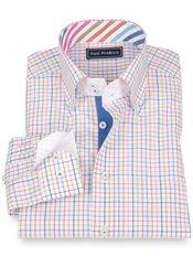 100% Cotton Tattersall Button Down Collar Sport Shirt