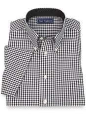 100% Cotton Gingham Button Down Collar Sport Shirt