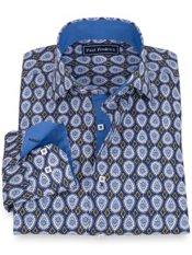 100% Cotton Print Spread Collar Sport Shirt