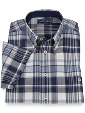 100% Cotton Madras Plaid Button Down Collar Sport Shirt