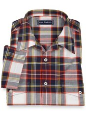 100% Cotton Madras Plaid Camp Collar Sport Shirt