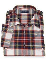 100% Cotton Madras Plaid Camp Collar Sport Shirt