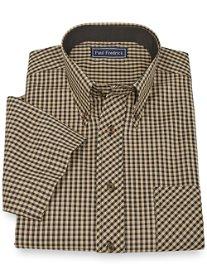 100% Cotton Gingham Button Down Collar Short Sleeve Sport Shirt