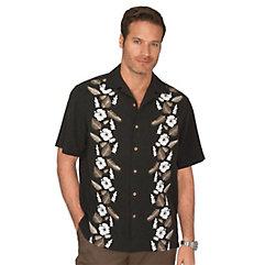 100 Silk Print Panel Camp Shirt $100.00 AT vintagedancer.com