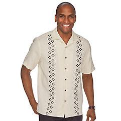 100 Silk Embroidered Camp Shirt $100.00 AT vintagedancer.com