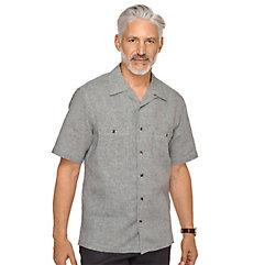 1950s Style Mens Shirts Linen Houndstooth Sport Shirt $55.00 AT vintagedancer.com