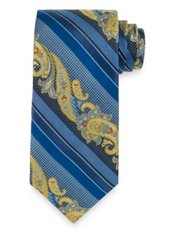 Paisley Stripe Woven Silk Tie