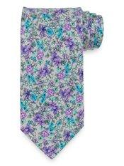 Grey Floral Printed Italian Silk Tie