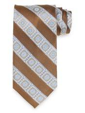Medallion Stripe Woven Silk Tie