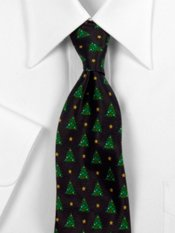 Christmas Tree Motif Woven Silk Tie