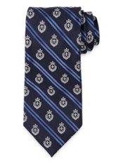 Striped Crest Woven Silk Tie