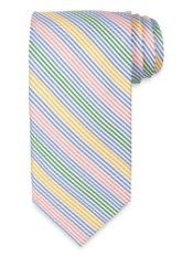 Seersucker Striped Woven Silk Tie