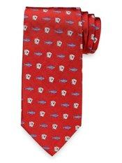 Card Shark Motif Woven Silk Tie