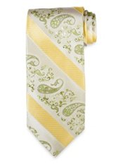 Paisley Striped Woven Silk Tie