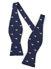 Sailboat Motif Woven Silk Self-tied Bow Tie