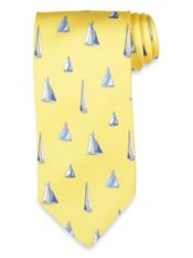 Sailboat Motif Printed Silk Tie