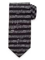 Music Notes Woven Silk Tie