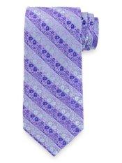 Satin Floral Stripe Woven Silk Tie