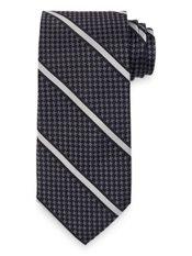 Houndstooth Stripe Woven Silk Tie