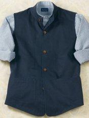 Men's Twill Banded-Collar Vest