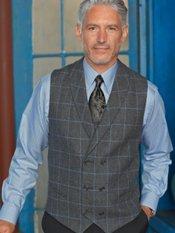 Italian Wool Windowpane Double Breasted Shawl Collar Vest