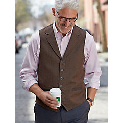 100 Wool Six-Button Notch Lapel Herringbone Vest $110.00 AT vintagedancer.com