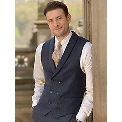 Men's Vintage Inspired Vests 100 Wool Double Breasted Shawl Collar Herringbone Stripe Vest $70.00 AT vintagedancer.com
