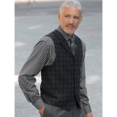 1900s Edwardian Men's Suits and Coats Wool  Camel Hair Six-Button Notch Lapel Plaid Vest $50.00 AT vintagedancer.com